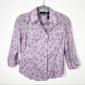 DKNY Jeans Purple Flower Snap Up Shirt Size 4